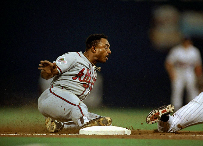 "Braves DH Lonnie Smith led off the eighth with a single but failed to score on Terry Pendelton's double. Smith, known as ""Skates"" for his frequent stumbling in the outfield, was deeked by Twins second baseman Chuck Knoblauch, who faked receiving a throw as Smith rounded second, causing Smith to stop, then stumble, before proceeding to third. Twins starter Jack Morris, who went the distance, stranded both runners with a pair of grounders, and the Twins won the game and the Series on a walk-off single in the bottom of the 10th."