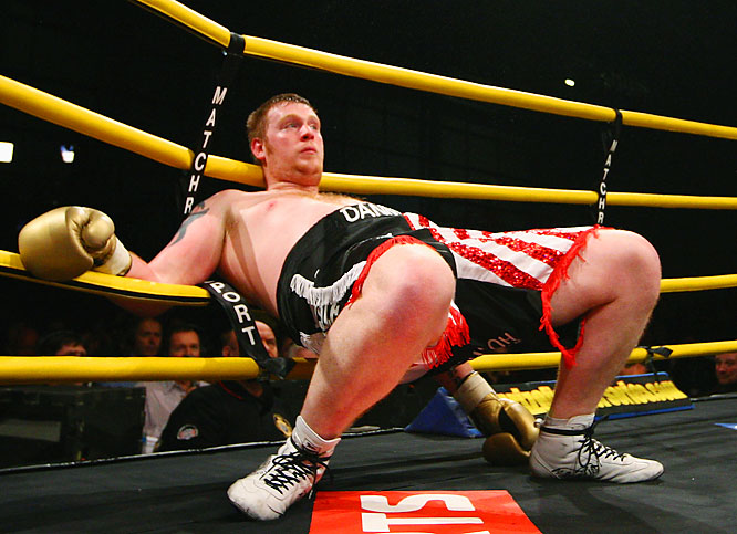 Danny Hughes hits the ropes during his semifinal bout against Audley Harrison during the Prizefighter Series, The Heavyweights III, at the Exel on Oct. 2 in London. Harrison won a three-round decision over the previously undefeated  Hughes.