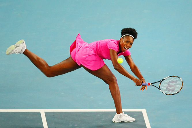 Sporting a new hairdo, Venus Williams returns the ball against Vera Dushevina of Russia during a first-round match at the China Open at the Beijing Olympic Tennis Centre on Oct. 3. Williams defeated Dushevina 6-2, 7-6.