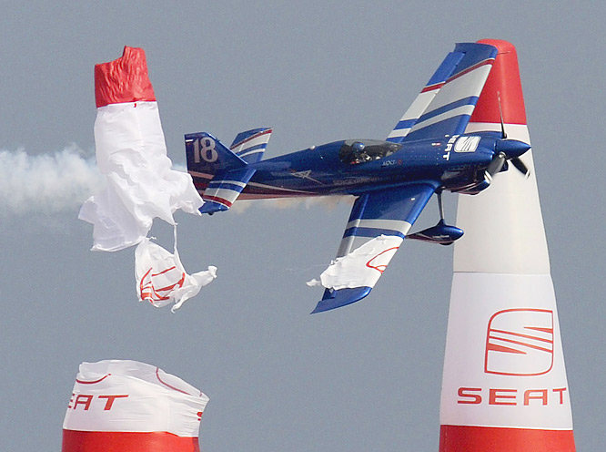Russian pilot Sergey Rakhmanin hits an air gate during the last training session ahead of the final round of the 2009 Red Bull Air Race World Championship  in Barcelona on Oct. 2.