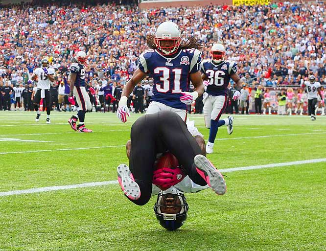 Baltimore's Derrick Mason, wearing pink gloves to honor National Breast Cancer Awareness Month, stood on his head as he rolled into the end zone after a 20-yard, first-quarter reception against the New England Patriots on Oct. 4. Mason hauled in seven passes for 88 yards, but New England won 27-21.