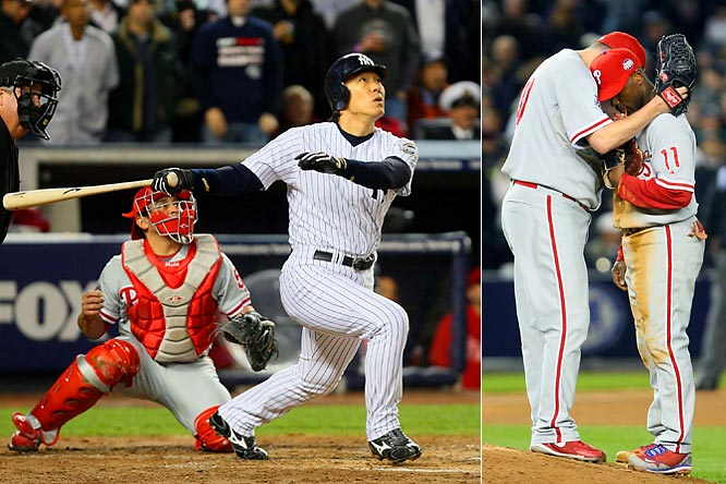 MVP Hideki Matsui tied a World Series record with six RBIs in Game 6 and batted .615 in the Yankees six-game series victory over the defending champion Phillies in 2009.