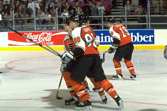 "In 1995, the ""Legion of Doom"" forward line helped the Flyers sweep the defending champion Rangers out of the playoffs, winning the Eastern Conference semifinals series 4-0."