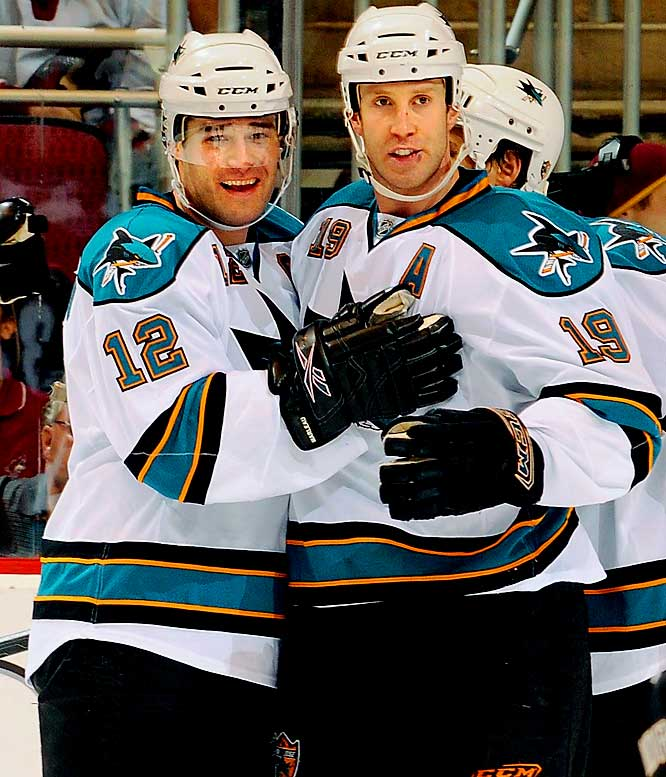 The top two picks in the 1997 draft boast a rare blend of size and physical talent that allows them to dominate games from October through April. Their lack of emotional will, however, has been at the core of the Sharks' playoff failures -- a sad state that was finally addressed when the A and C, respectively, were ripped off their chests. Unless the duo discovers their inner William Wallace, it'll be another short spring in San Jose.