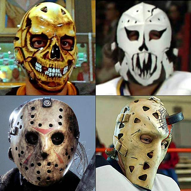 Clockwise from top left:  Thunder City Bombers goalie from  Youngblood  (1986)  Chiefs goalie Denis Lemieux from  Slap Shot  (1977)  Zombies goalie Deacon from   Zack and Miri Make a Porno  (2008)  Jason Voorhees from  Friday the 13th  films (1981-)