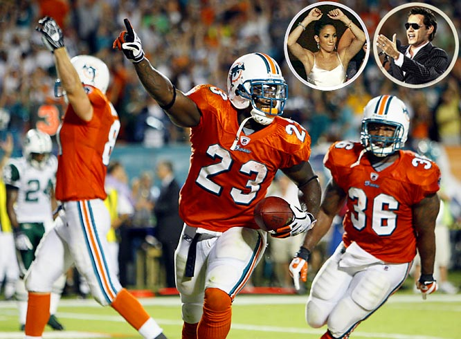 The Dolphins finally played up to the standard of their celebrity owners in winning a Monday Night classic over the New York Jets. Up until Ronnie Brown scored the winning touchdown with two seconds left, it looked like the highlight for Dolphins fans would once again be Marc Anthony singing the national anthem and Chad Ochocinco showing off his shiner to Anthony and Jennifer Lopez before the game (which, of course, he tweeted about).
