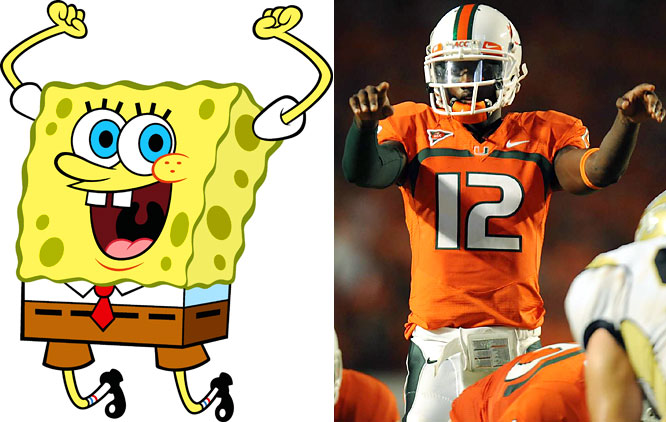 "There have been many odd inspirational figures in sports (the little person Pedro Martinez carried around during the 2004 playoffs comes to mind), but few can compare with SpongeBob SquarePants. Apparently Miami quarterback Jacory Harris instructed teammates to watch episodes of <i>SpongeBob SquarePants</i> before games instead of watching ESPN -- and it's paid off. ""Hey, listen, the only thing we're going to watch on TV from now on is SpongeBob. We ain't watching ESPN. We ain't watching CBS. We ain't watching ABC,"" Harris said. ""If SpongeBob can tell you how good you are, then you deserve it.'"""