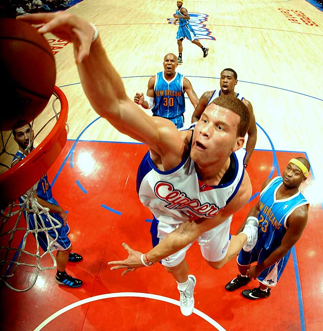 """Getting drafted first overall by the Clippers is like walking into the woods in a scary movie. You should just scream and run the other way. After a promising preseason, Griffin fell victim to the """"Clippers Curse"""" and will miss the first six weeks of the season with a broken kneecap, following in the footsteps of other cursed Clippers draft picks, such as Danny Manning and Michael Olowokandi."""