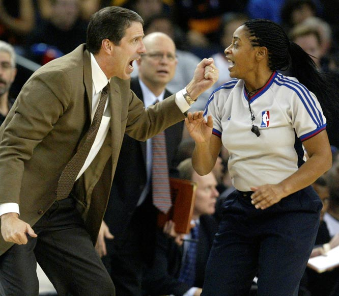The NBA announced that they had hired Dee Kantner and Violet Palmer (pictured), the first women to officiate a major-league all-male sport.