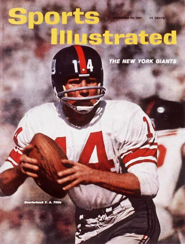 New York quarterback Y.A. Tittle completes 27 of 39 passes for 505 yards and a record-tying seven touchdown passes in the Giants' 49-34 victory over Washington.