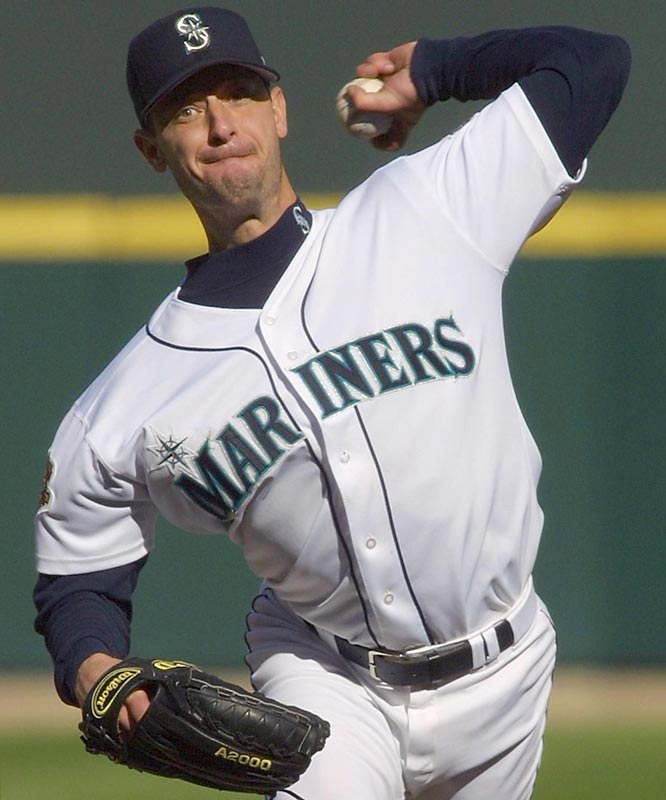 On the last day of the season, 38-year-old Jamie Moyer (20-6) becomes the oldest first-time 20-game winner when the Mariners beat Texas at Safeco Field, 6-2.