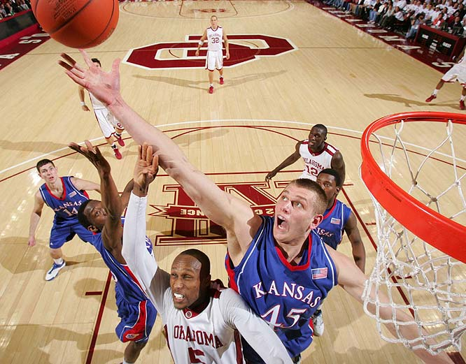 Cole Aldrich (pictured), Marcus Morris, Markieff Morris, Mario Little, Thomas Robinson<br><br>Aldrich, who averaged 14.9 points and 11.0 rebounds as a sophomore, is the anchor of the Jayhawks' defense and one of the prime reasons they're the preseason national title favorite. Few teams have a post player as dominant as the 6-11 Minnesotan. Marcus is the more productive of the Morris brothers (7.4 points, 4.7 boards) and should be a solid role player, while Robinson is a four-star power forward who adds depth up front.