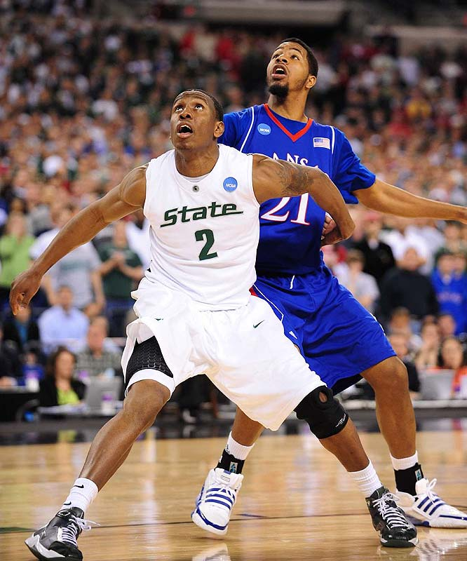 Raymar Morgan (pictured), Delvon Roe, Draymond Green, Derrick Nix, Tom Herzog, Garrick Sherman<br><br>Morgan had much of his junior season ruined by illnesses, playing just 22.5 minutes per game and averaging 10.2 points, but is expected to have a huge final campaign for the Spartans. Roe is a productive  rebounder who'll be needed to play a big low-post role in Goran Suton's absence, and Green and Nix should be solid role players who can help on the glass.