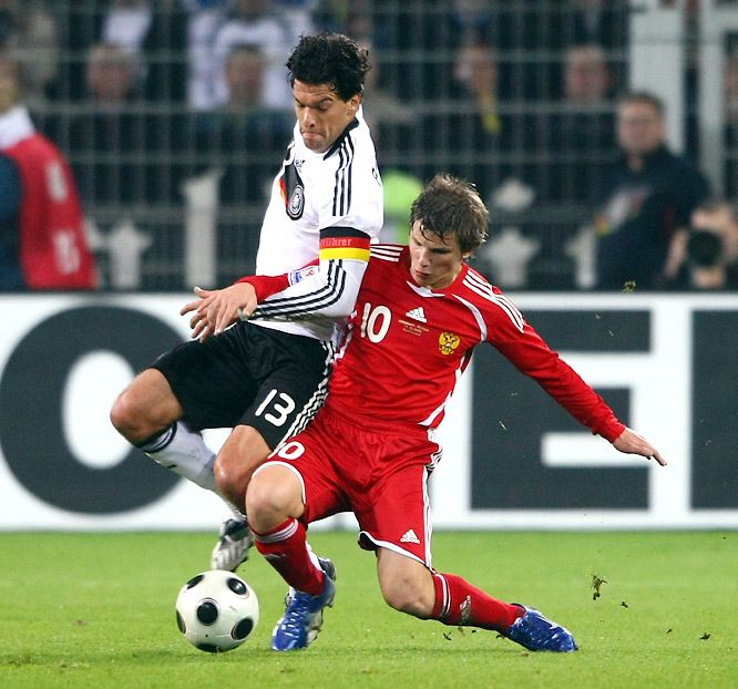 In perhaps the most anticipated clash left in European qualifying, Germany heads to Moscow for a final showdown with Russia on Saturday. When the two heavyweights last met in Dortumund a year ago, Ballack (13) and the hosts came out a 2-1 winner. Now, it's a chance for payback for Arshavin (10), who scored Russia's lone goal that game. That duo now lines up for rival English Premier League clubs, too: Ballack at Chelsea, Arshavin at Arsenal. The winner of this game likely will win Group 4 and an automatic place in South Africa, the loser probably will be relegated to a playoff with another second-place European team. All eyes will be glued to Luzhniki Stadium.