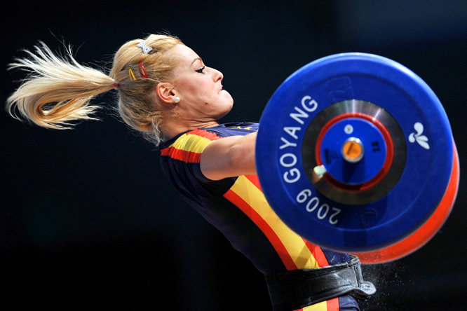 Lidia Valentin of Spain attempts a lift at the World Weightlifting Championships on Nov. 28.