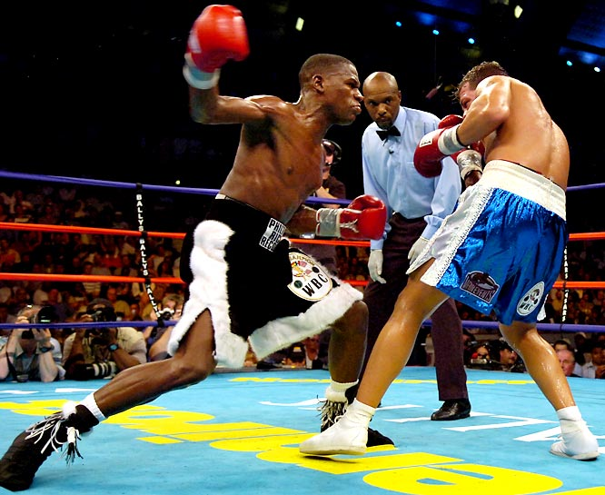 A mandatory challenger to Gatti, the WBC super lightweight champion, Mayweather landed a slew of major punches in one of the most one-sided fights in history. The sixth-round TKO earned  Mayweather another title and a place among the sport's pound-for-pound best.