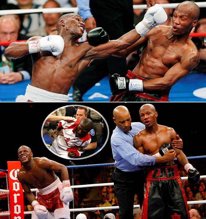 Against one of the quickest punchers in the game, Mayweather battled for Zab Judah's IBF and vacant IBO world welterweight titles in Las Vegas. After a grueling start, Mayweather gained momentum in the fifth and outworked his opponent to win by unanimous decision. In the final round, Zudah hit Mayweather with a punch below the belt, enraging both sides and resulting in trainer Roger Mayweather (inset) getting fined $200,000 and suspended one year for his outburst.