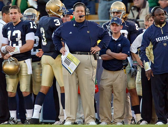 "After beating Navy 43 straight times, Notre Dame dropped its second straight to the Midshipmen with a 23-21 loss at home. After the loss, media inundated athletic director Jack Swarbrick with questions on Weis' job security. When asked what the biggest disappointment had been so far during the 2009 season, Swarbrick answered, ""the Navy outcome. ... Up until the Navy game we were in the BCS conversation."""