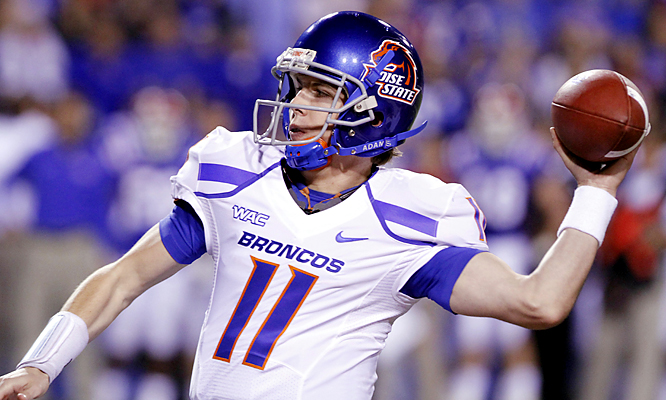 Sophomore Kellen Moore threw for 354 yards Friday and three touchdowns, and Boise State remained unbeaten and in contention for a BCS bid. Junior Jeremy Avery rushed for 146 yards and a touchdown for the Broncos.