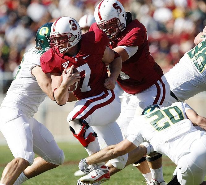 Toby Gerhart (center) ran for a school-record 223 yards and three scores, Andrew Luck threw for two touchdowns and the Cardinal snapped a six-game losing streak to the Ducks for their all-important sixth win of the season. The loss cost the Ducks any shot at a berth in the Bowl Championship Series title game.