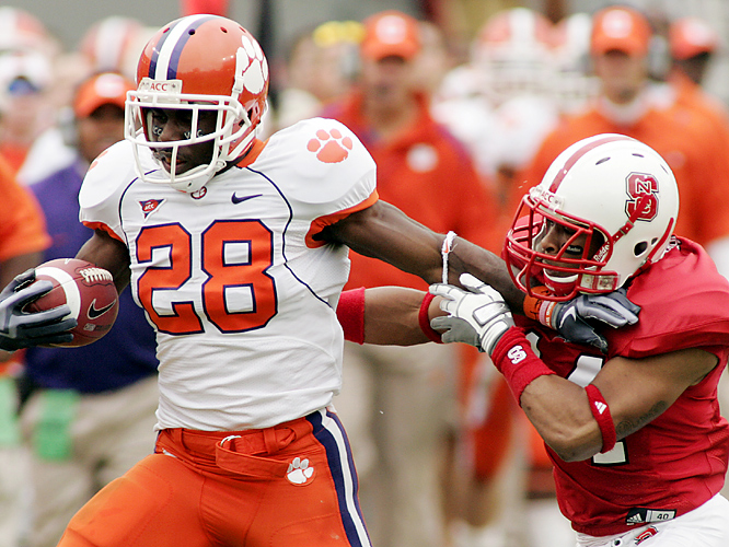 C.J. Spiller (left) became the first player in Clemson history to record a touchdown passing, rushing and receiving in the same game, helping the Tigers (7-3, 5-2 in the Atlantic Coast Conference), secure a winning regular season. Spiller, who broke Derrick Hamilton's single-season school record for all-purpose yards on his 16-yard touchdown run in the third quarter, rushed for 97 yards on 18 carries.