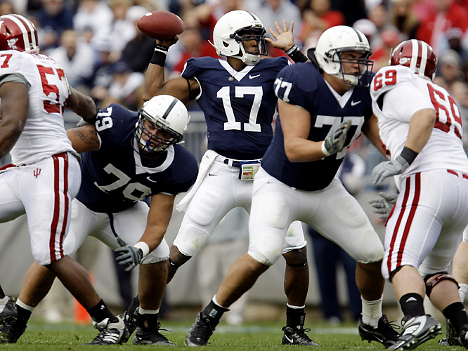 Daryll Clark threw for 194 yards and a touchdown as Penn State celebrated Senior Day with a win. Linebacker Navorro Bowman had a momentum-turning 73-yard interception return for a touchdown and the Nittany Lions (9-2) overcame four first-half turnovers - including two fumbles on special teams. The Hoosiers, who led 10-0, have made a habit this season of hanging tough early in road games before letting leads slip away. They had also led at Michigan, Northwestern and Iowa before falling.