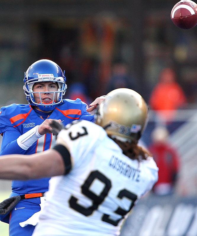 Kellen Moore threw for 298 yards and five touchdowns as Boise State (10-0) knocked off their rivals for the 11th consecutive time. Moore, the nation's passing efficiency leader with 32 touchdowns and just three interceptions, passed Steve Young for 19th place on the Western Athletic Conference's list for career touchdown passes.