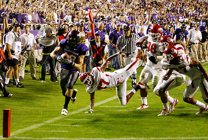 Ryan Christian (left) beats a host of Utes into the end zone as TCU kept its record unblemished (10-0). Edward Wesley rushed for 141 yards a a touchdown and Matthew Tucker added two more scores for the Horned Frogs.