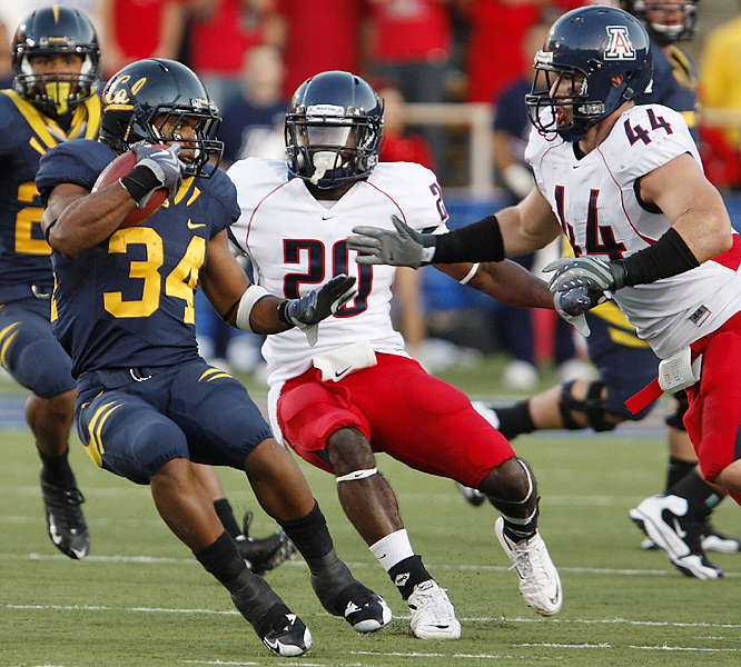 Shane Vereen scored on a 61-yard run and finished with 158 yards as the Golden Bears prevailed without Jahvid Best. Arizona suffered a blow in trying to make the Rose Bowl for the first time.