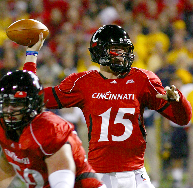Tony Pike threw two touchdown passes -- in only four throws -- in a cameo appearance Friday, and the Bearcats overcame a self-destructive first half to record the best start (10-0) in school history. Sophomore Zach Collaros threw for 205 yards in his fourth start for Pike, who is recovering from an injury to his non-throwing arm.