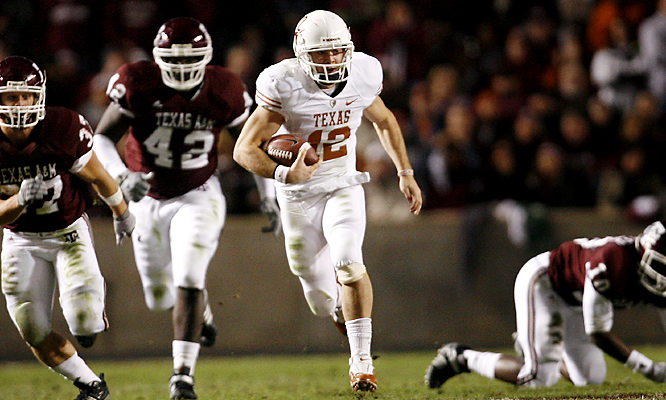 A common happening in Thursday's game: Colt McCoy leaving Aggies in his wake. The senior rushed 18 times for a career-high 175 yards and a touchdown and threw for 304 yards and four more scores as UT kept its national-title hopes alive. After A&M scored to make it 42-39, Marquise Goodwin returned the ensuing kickoff 95 yards for a TD, and the Longhorns could finally breathe easy.