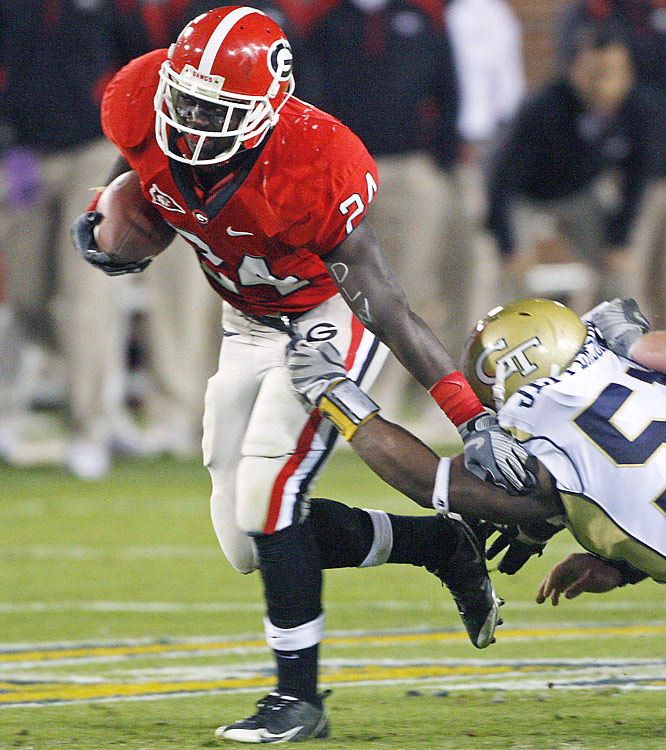 Georgia tailbacks Washaun Ealey (pictured -- 183 yards) and Caleb King combined for 349 rushing yards and two TDs in the Bulldogs' upset victory. Georgia Tech can still capture the ACC title next week in Tampa.