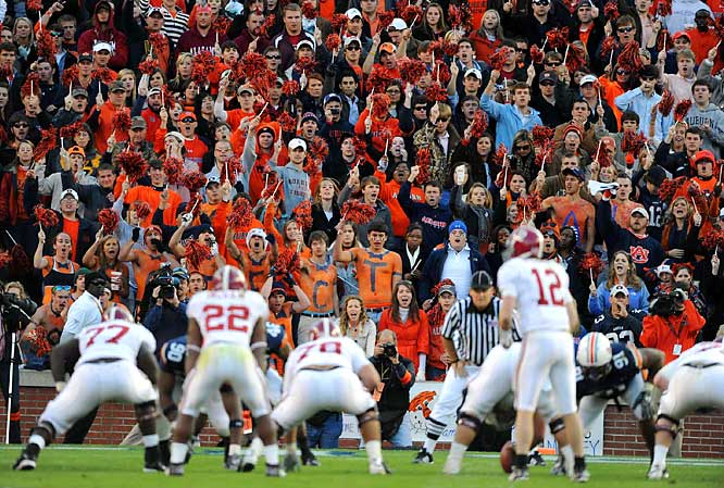 Auburn fans at Jordan-Hare Stadium did their best to distract the Alabama offense in the Iron Bowl matchup.