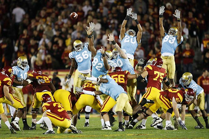 Jacob Harfman misses this 50-yard field goal attempt but the Trojans did little else wrong en route to defeating UCLA.