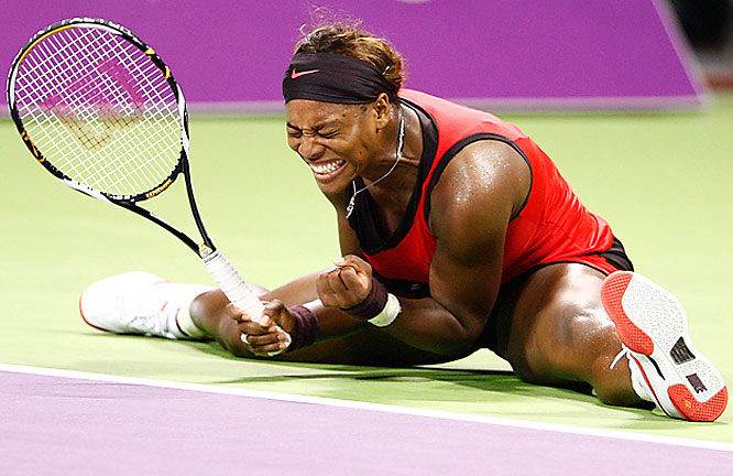Serena Williams reacts during her singles match against sister Venus at the WTA Championships in Doha, Qatar on Oct. 28. Serena won her second title at the event,  6-2, 7-6 (7/4).