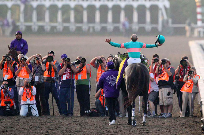 Mike Smith soaks in the moment after Zenyatta won the Breeders' Cup Classic at Santa Anita Park on Nov. 7.