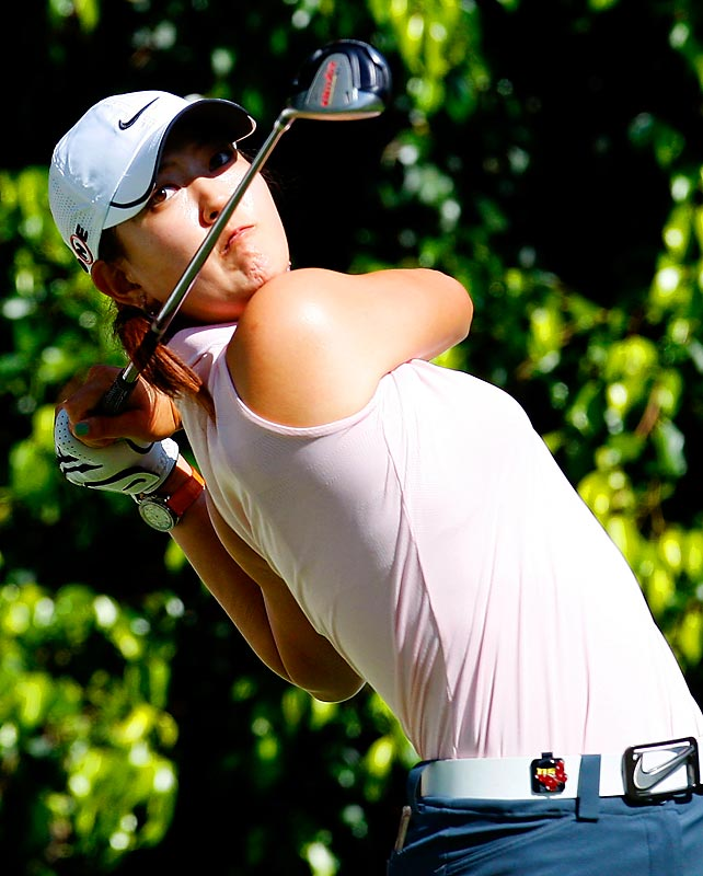 Michelle Wie tees off at the fifth hole during the first round of the Lorena Ochoa Invitational on Nov. 12 in Guadalajara, Mexico.