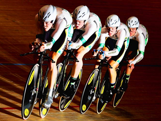 The Australian Pursuit team of Rohan Dennis, Luke Durbridge, Michael Hepburn and Cameron Meyer on their way to winning the gold medal during the second day of the UCI World Cup Melbourne Classic on Nov.  20.
