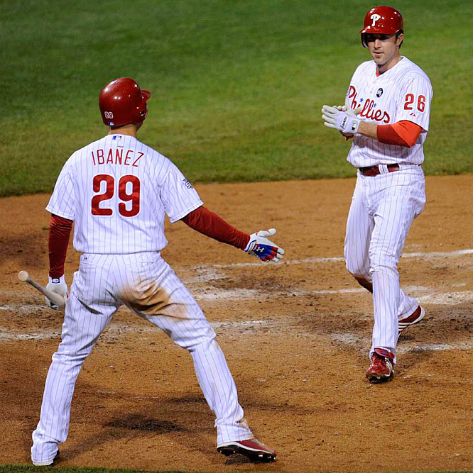 Chase Utley and Raul Ibanez both homered in the seventh, Utley matching the record for homers in a single World Series with his fifth against the Yankees.