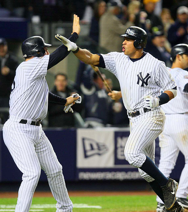 Alex Rodriguez and Mark Teixeira scored on a two-run double by Hideki Matsui in the fifth as the Yankees took a 7-1 lead.