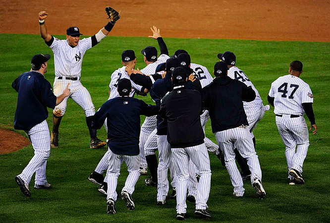 The celebration began in earnest after Shane Victorino grounded out to Robinson Cano at second base.
