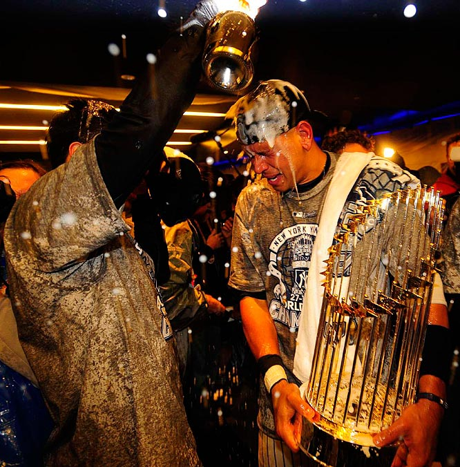 The Yankees took the celebration from the field to the club house.