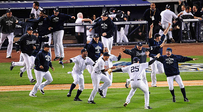 The Yankees were sprinting from the dugout before the ball even reached first base.