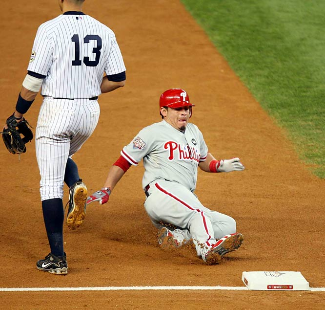 The Phillies' catcher led off the third with a triple and later scored to make it a 2-1 game.