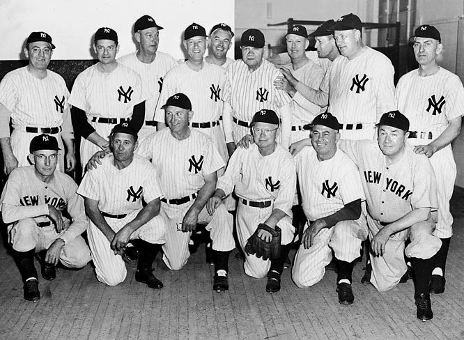 "90 years ago today (Oct. 15), the New York Yankees won their first ever championship. The Yankees christened their brand new stadium in the Bronx -- forever known as ""The House That Ruth Built"" -- by winning the pennant by 16 games and dispatching the neighboring Giants in six games in the World Series. Babe Ruth, the A.L. MVP, hit .368 with three home runs in the six games. The 1923 team is pictured during a reunion 25 years later."