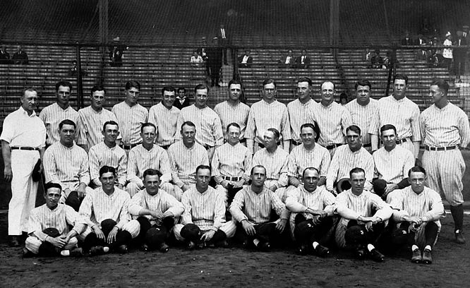 The legendary Murderer's Row lineup that included Babe Ruth (.356, a record 60 homers), Lou Gehrig (.373), Tony Lazzeri (.309) and Bob Meusel (.337) won 110 games before steamrolling the Pirates in four games.