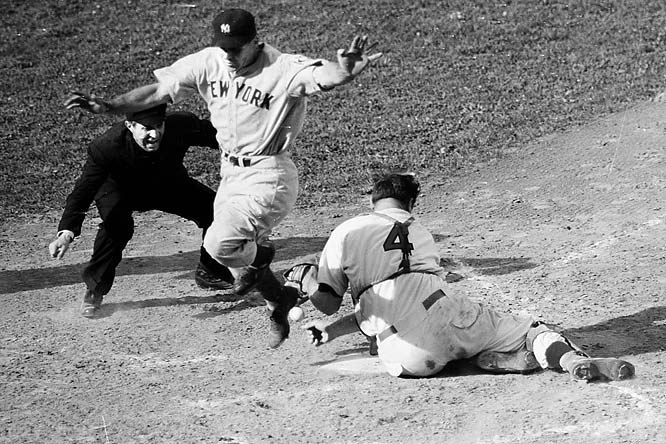 A season marked by the tragic departure of the ALS-stricken Lou Gehrig from their lineup was capped by an easy Series victory. The most memorable play occurred in the top of the 10th inning of Game 4 when Charlie Keller bowled past Reds catcher Ernie Lombardi, who collapsed, allowing two more runs to score. The Yankees swept in four games.
