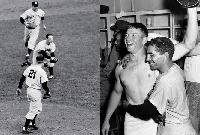 Scrappy second baseman Billy Martin's clutch grab of a dangerous two-out, bases-loaded infield fly by Brooklyn's Jackie Robinson saved Game 7 and allowed Yankee icons Mickey Mantle and Phil Rizzuto to celebrate the team's fourth straight championship.