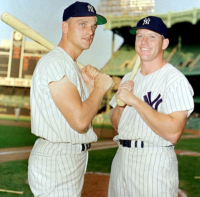 Powered by Roger Maris (then-record 61 homers) and Mickey Mantle (54), the Bronx Bombers rolled to the Series and downed the Reds even though Maris hit only .105 with a homer and two RBI in the five games and Mantle hit .167 while being plagued by a thigh abcess.