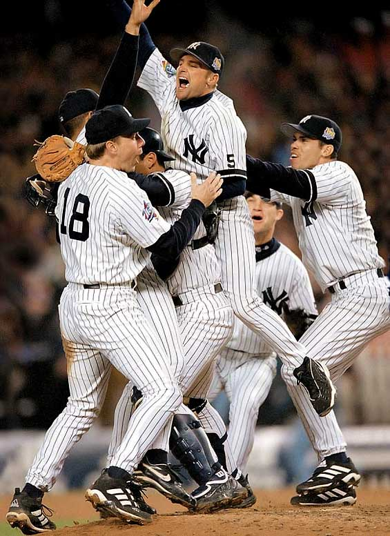 Unlike in 1996, the Braves were no match for the Yankees, who swept their second consecutive Series. Mariano Rivera was on the hill to close it out, but the winning pitcher in Game 4 was Roger Clemens, who finally tasted the first World Series championship of his career.